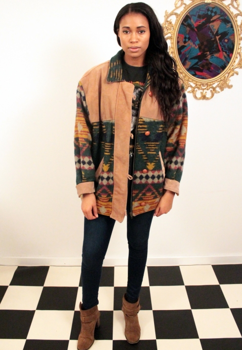 AZTEC FLEECE AND SUADE COAT FRONT