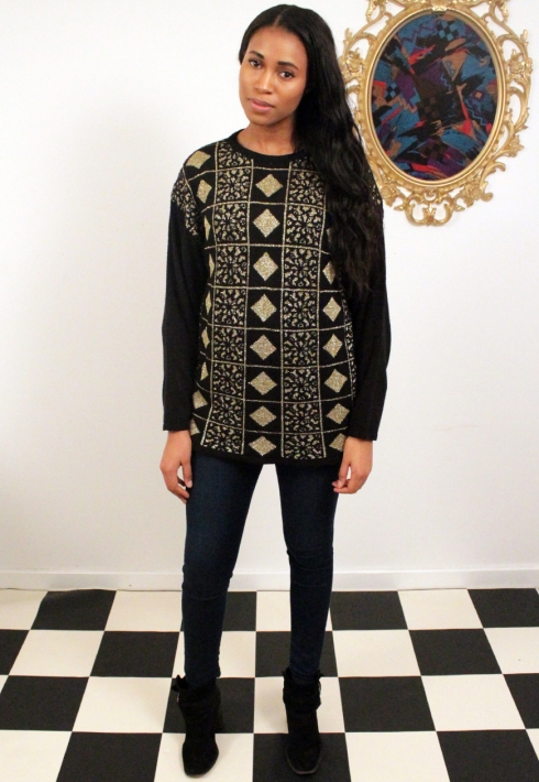 BLACK AND GOLD DIAMOND PATTERN JUMPER FRONT 2