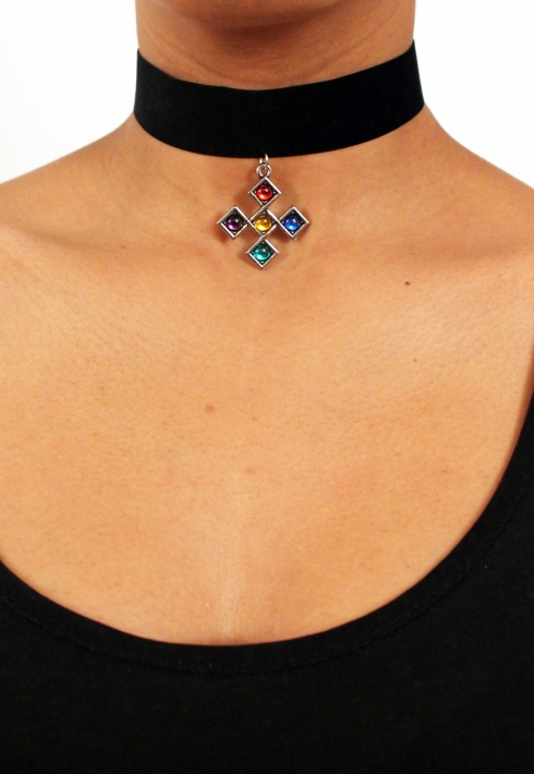 COLOURED CROSS PENDANT CHOKER
