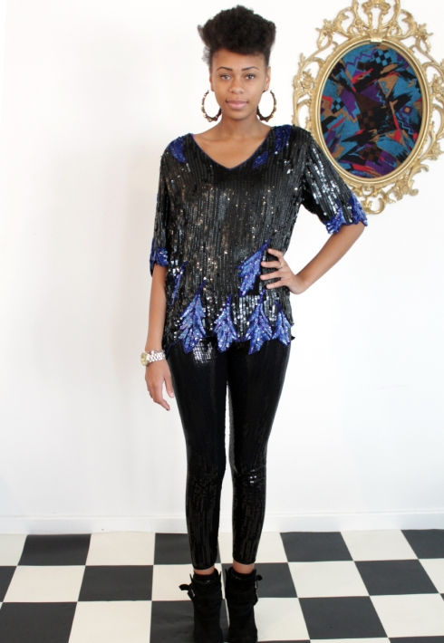 SEQUIN LUX BLUE AND BLACK PATTERN TOP FRONT