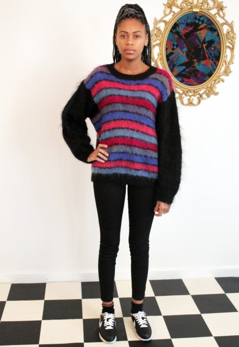 STRIPE FLUFFY JUMPER FRONT